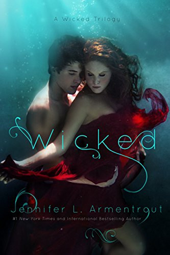 Picture showing a man and a woman in love under water. Book Cover of paranormal erotic romance novel Wicked by L. Armentrout
