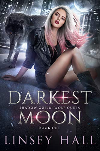 Picture showing a sexy woman and a wolf. Cover of the Steamy Paranormal Romance story Darkest Moon by Linsey Hall