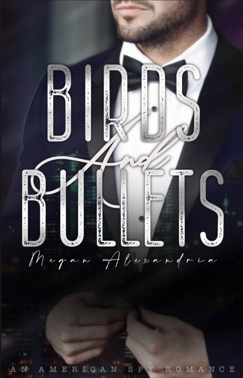 Picture showing a hot man in a suit. Cover of Birds and Bullet Thriller Romance Novel by Megan Alexandria