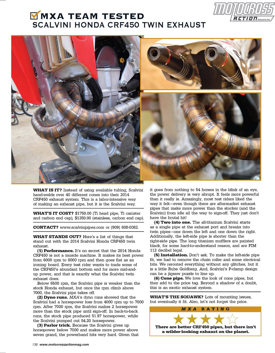 Scalvini Pipe for Honda CRF 450 MXA Magazine Test August 2014