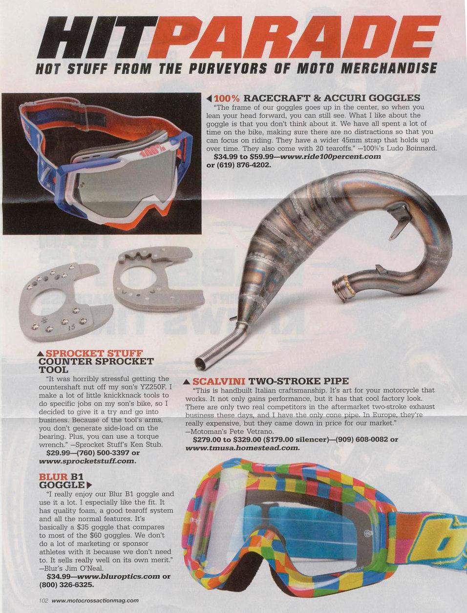 Scalvini 2-Stroke Pipes MXA Magazine Test April 2013