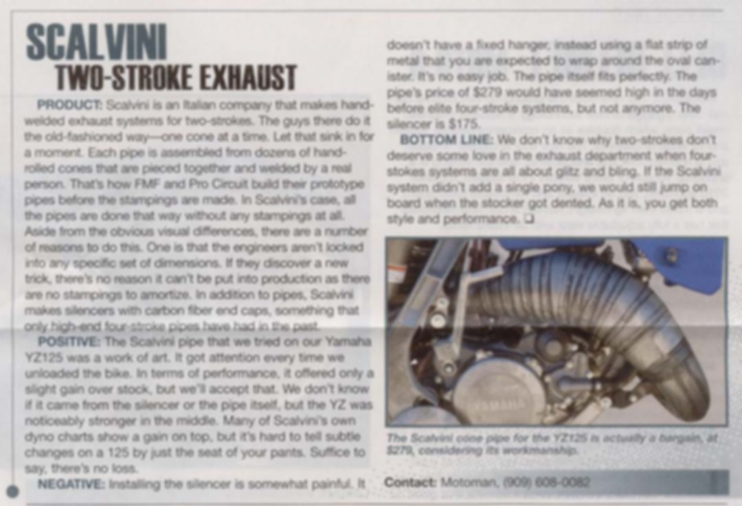 Scalvini Pipe for KTM 300 - Dirt Bike Magazine Test July 2014