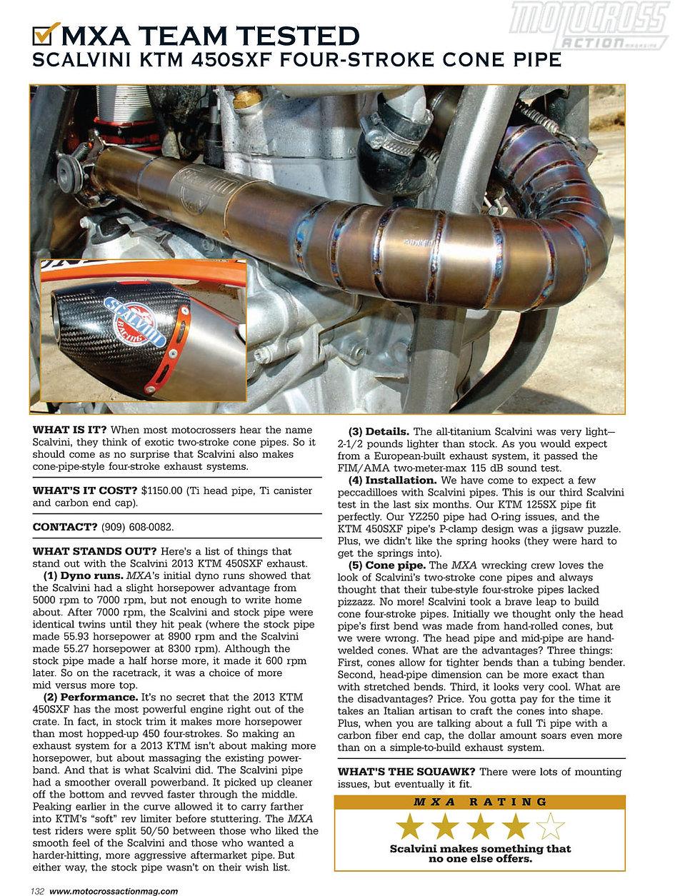 Scalvini Pipe for KTM 450 SXF MXA Magazine Test April 2013