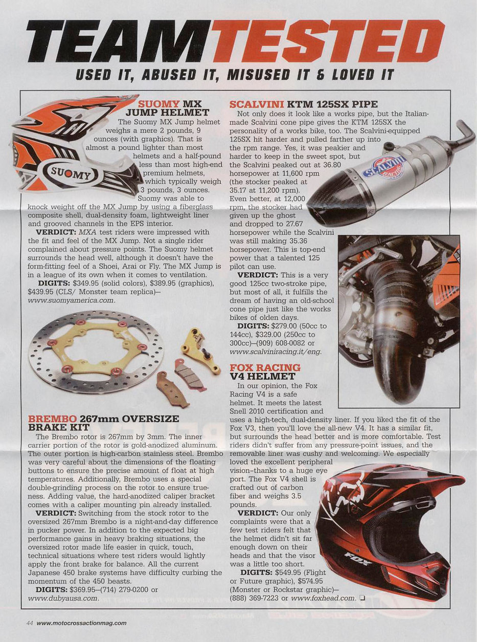 Scalvini Pipe for KTM 125 SX MXA Magazine Test April 2013