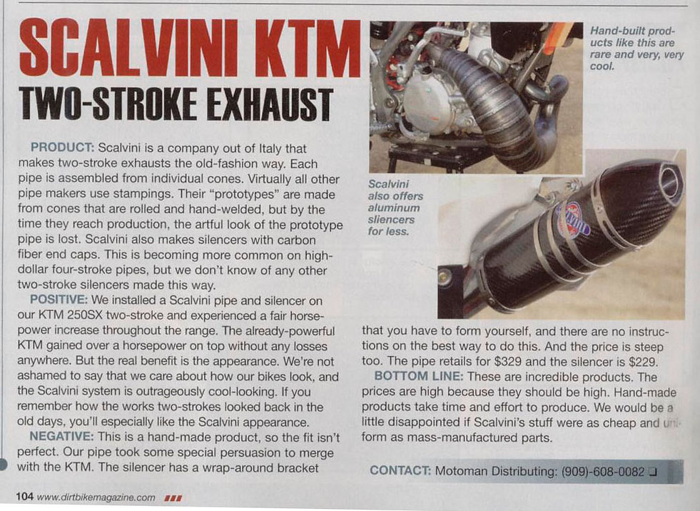 Scalvini Pipe for KTM 250 SX Dirt Bike Magazine Test February 2013