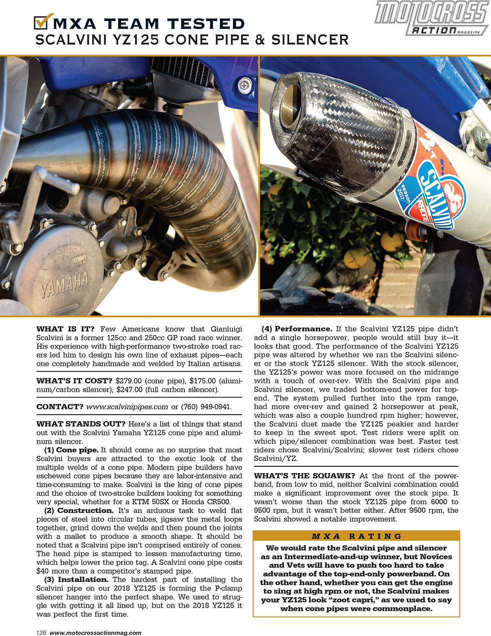 Scalvini 2017 KTM-Husky Cone Pipe MXA Mag Test May 2017