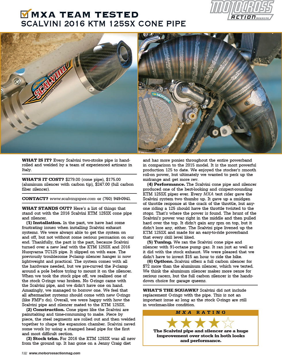 Scalvini Cone Pipe for KTM 125SX MXA Magazine Test April 2016