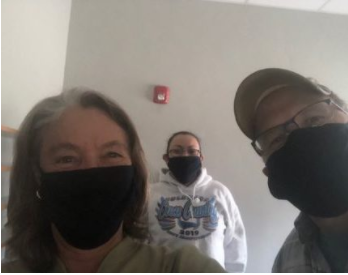 Graham (left) with Sheila Nanaeto, KSUT Tribal Radio Station Manager, and Rob Rawls, KSUT Four Corners Public radio Station Manager. Credit Current Media