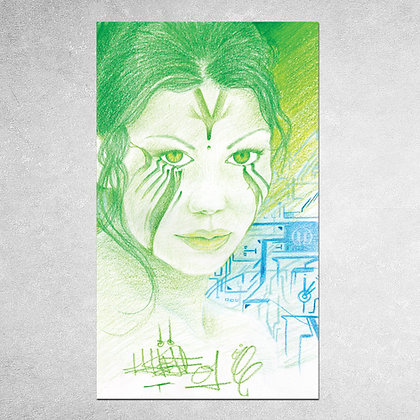 Green Eyed Girl Sticker