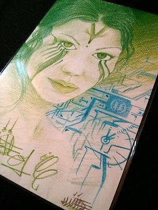 GREEN EYED GIRL PRINT #057