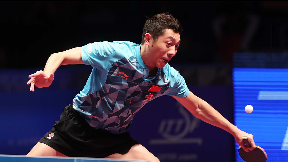 Xu Xin in action in Doha at the 2016 ITTF World Tour Grand Finals (Photo: Qatar TTA)