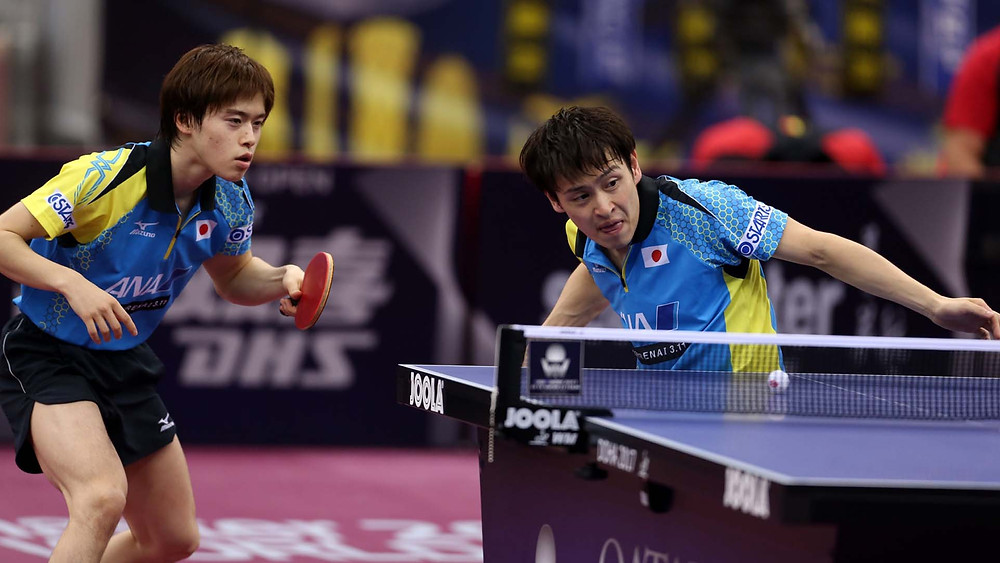 Masataka Morizono (left) and Yuya Oshima (right), the Men's Doubles champions in Qatar (Photo: Hussein Sayed)