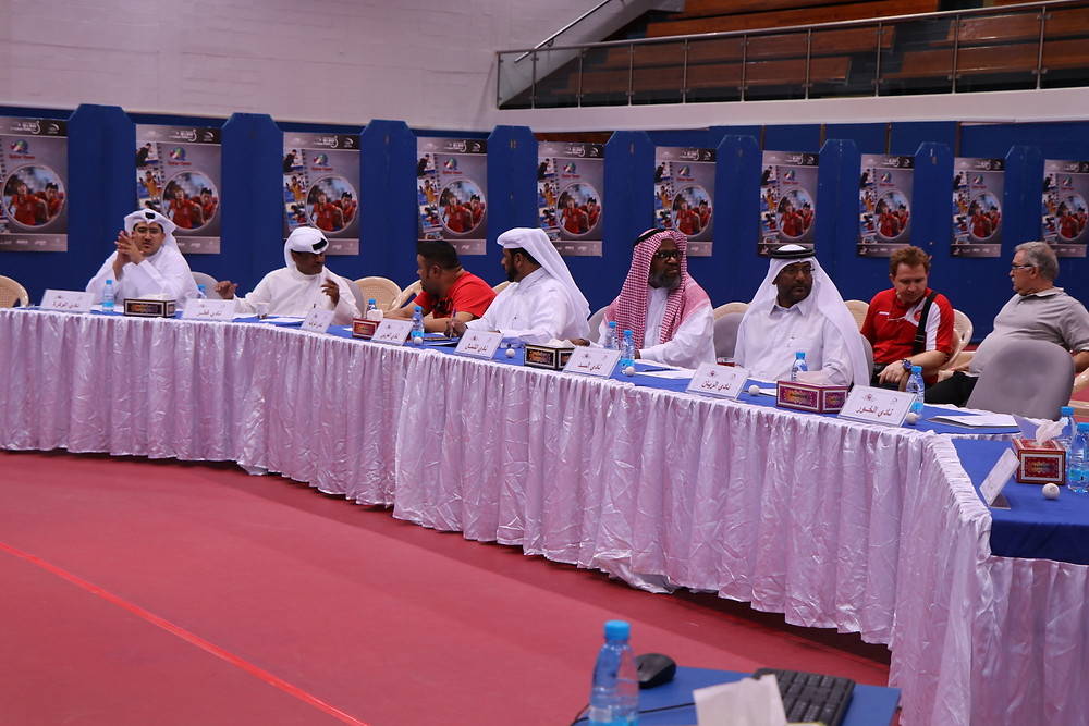 Officials from QTTA and the participating clubs during the Emir Cup draw ceremony at the QTTA Training Centre in Doha recently.