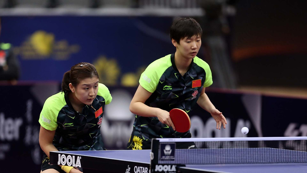Chen Meng (left) and (right) Wang Manyu, the Women's Doubles winners in Doha (Photo: Hussein Sayed)
