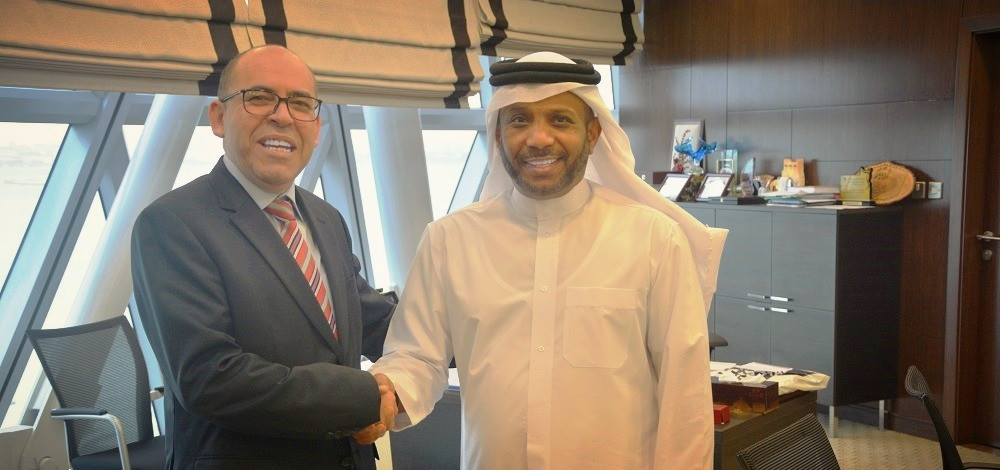 QTTA President Khalil Ahmed al Mohannadi (right) with Tunisian Ambassador to Qatar HE Salah al Salhi in Doha on Thursday.