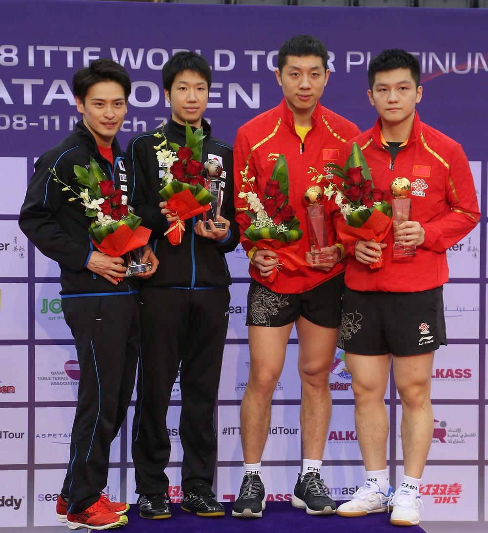 The Men's Doubles medallists (left to right) Yuya Oshima, Jun Mizutani, Xu Xin, Fan Zhendong (Photo; Hussein Sayed)