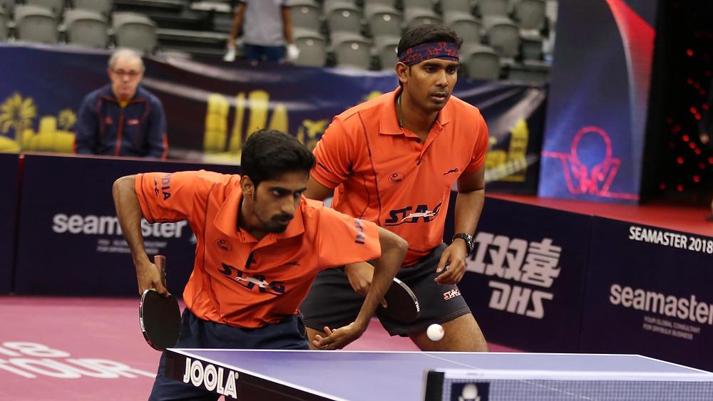 Sathiyan Gnanasekaran (left) and Sharath Kamal Achanta (right) ended Swedish hopes (Photo: Hussein Sayed)