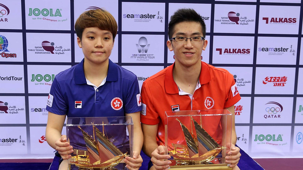 Doo Hoi Kem (left) and (right) Lam Siu Hang, champions in Doha (Photo: Hussein Sayed)