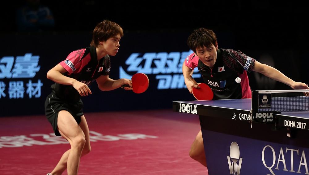 Masataka Morizono and Yuya Oshima won gold in the Men's Doubles competition in Doha (Photo: Hussein Sayed)