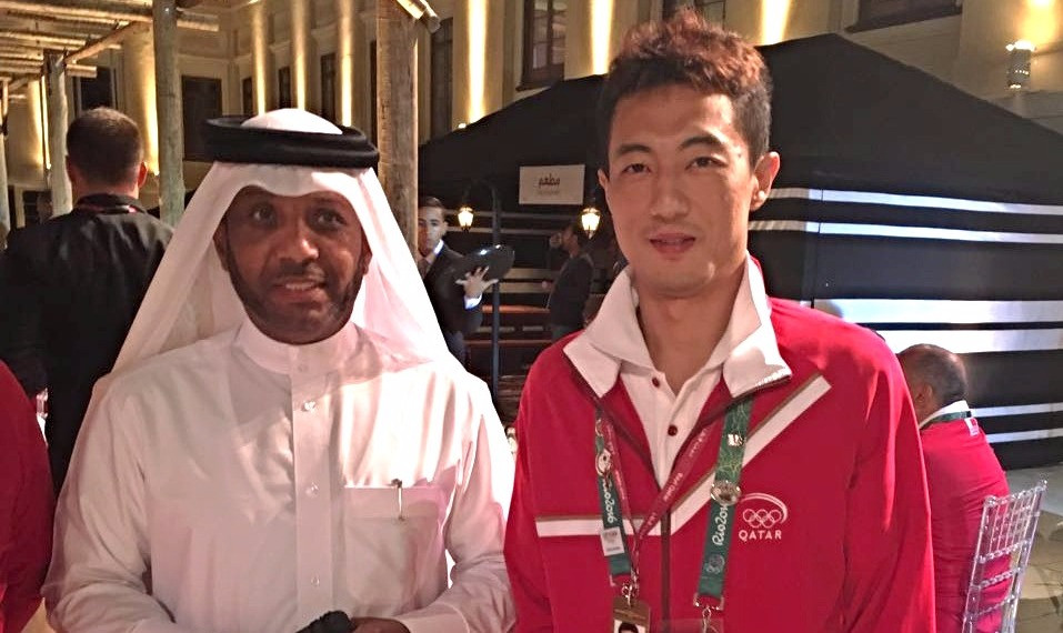 QTTA President Khalil Ahmed al Mohannadi with Qatar's player Li Ping during the rio Olympics in Rio de Janeiro recently