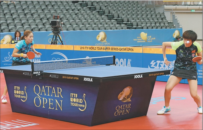 Women's singles winner Liu Shiwen (left) in action against Ding Ning during their final match of the 2016 ITTF World Tour Qatar Open on Sunday.