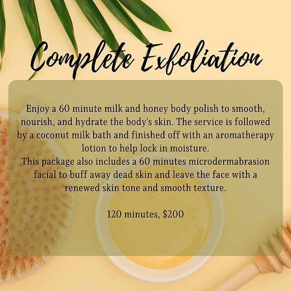 Enjoy a 60 minute milk and honey body polish to smooth, nourish, and hydrate the body's sk