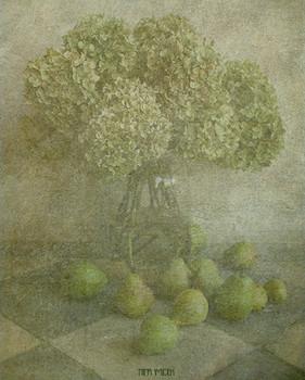 Nature morte de l'été indien / poires et hortensias