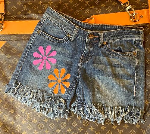 BCBG MAX AZRIA - Fringe Denim Shorts, Size 26