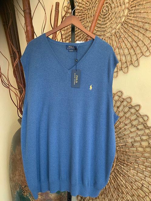 RALPH LAUREN - Blue Cotton Sweater Vest, Size 3XLT, NWT