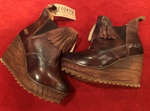 BEDSTU - Leather Wedge Bootie, Size 9, NWT