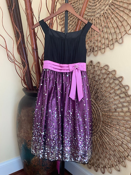 LOVE - Black/Purple Sequin Dress w/Rhinestones, Size 16
