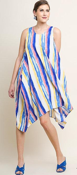 PaintBrush Striped Midi Dress