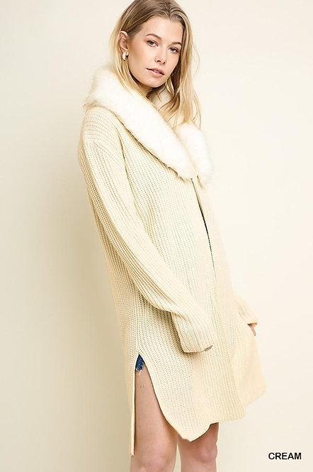 Sweater Coat w/Fur Collar