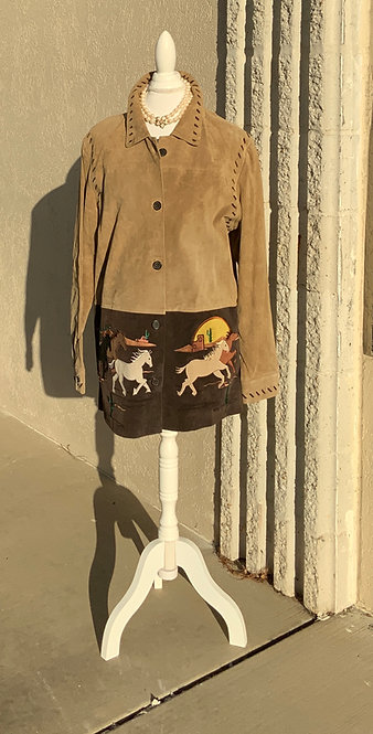 QUACKER FACTORY - Suede HORSES Jacket, Size L