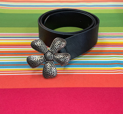 SILPADA - Black Leather Belt, Size M