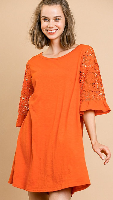 Crochet Lace Ruffled Dress