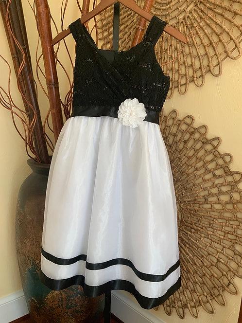 RARE EDITIONS - Black/White Sequin Dress, Size 16