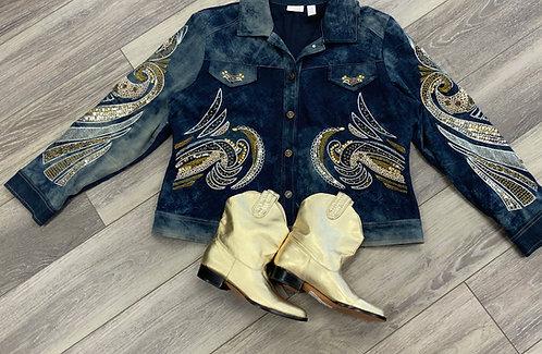 CHICO'S - Embellished Denim Jacket, Size XL