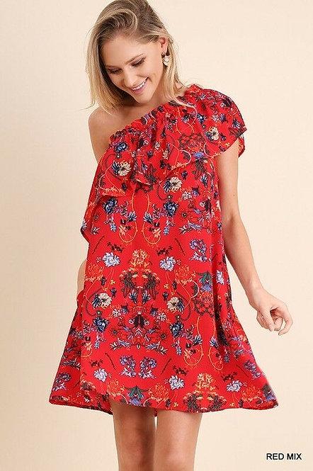 Red Floral One-Shoulder Dress
