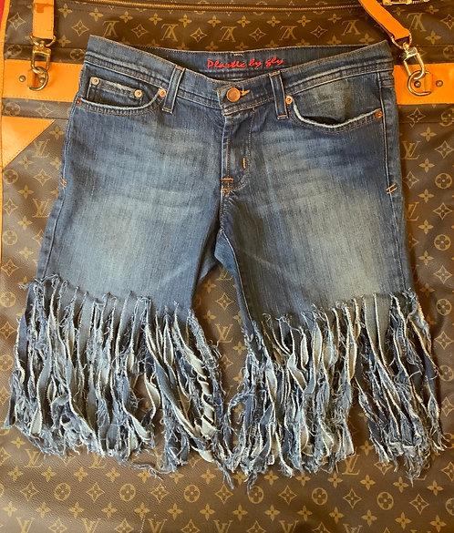 PLASTIC BY GLY - Fringed Denim Shorts, Size 9