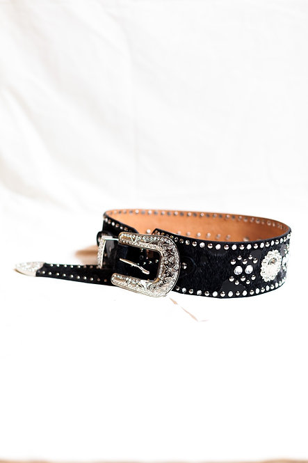 ARIAT - Black Embellished Belt, Leather/Pony Hair, Size S, NWT