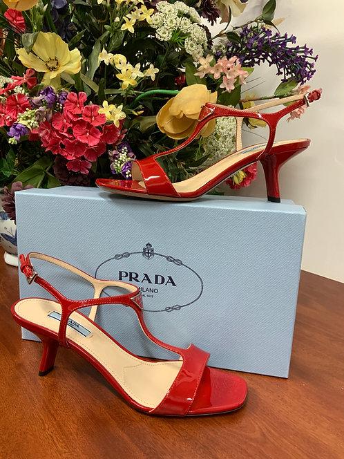 PRADA - Red Patent Heels, Size 38 1/2, NIB