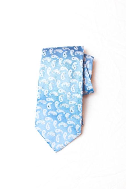 BROOKS BROTHERS - Silk Neck Tie, Lt. Blue w/Gray Paisley