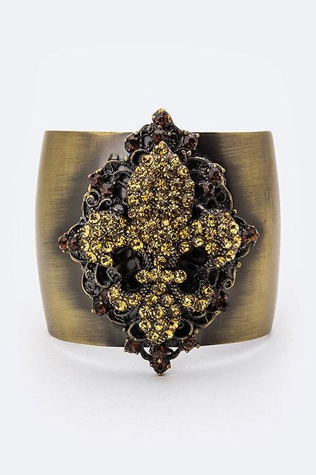 Fleur De Lis Crystal Cuff Bracelet