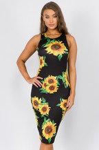 Sunflower Print BodyCon Midi Dress