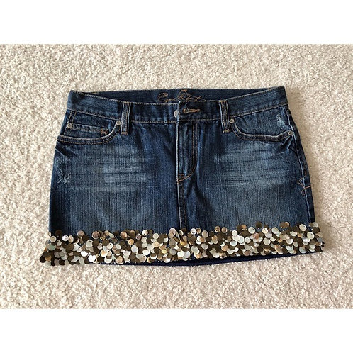 EZRA FITCH - Shell Embellished Denim Mini Skirt, Size 30