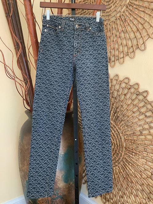 DOLCE & GABBANA - Logo Printed Blue Jeans, Size 28