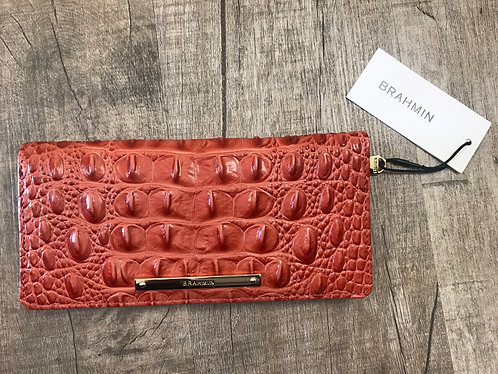 BRAHMIN - Rust Leather CheckBook Wallet, NWT