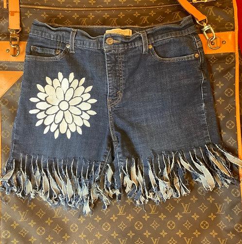 LEVI'S - Fringed Denim Shorts, Size 14