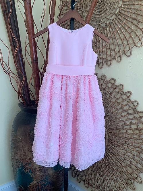 AMERICAN PRINCESS - Pink Floral Ribbon Applique Dress, Size 8